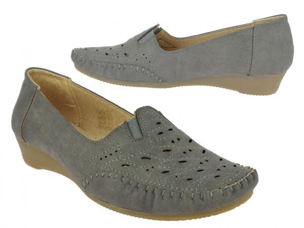 .Da.-Schuh, 2 x Gummizug, PU, mit Lochmuster, TPR-Sohle, grau