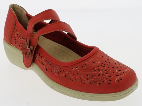 .Da.-Schuh, PU-Sohle, geteilt. Riemen m. Klettverschl., Lochmuster, PU, rot