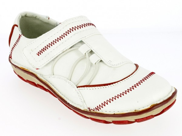 .Da.-Schuh, Klettverschluß, Gummiband, PU, TPR-Sohle, weiß