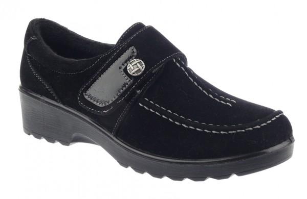 .Da.-Schuh, PU-Sohle, Klettverschluss mit Knopf und Lack, Wulstnaht, Warmfutter, Rau-PU, schwarz