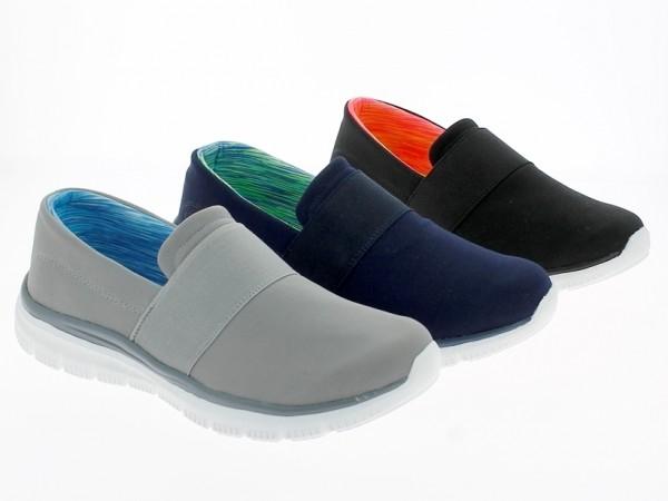 .Da.-Slipper, Phylon-Sohle, br. Gummizug, Memorysohle, Mesh, schwarz + grau + dk.blau