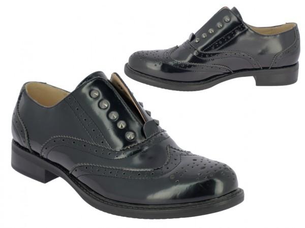 .Da.-Schuh, PU, Slipper, Zierlöcher, -nieten,-nähte, Gummizug unter d. Lasche, TPR-Sohle, schwarz