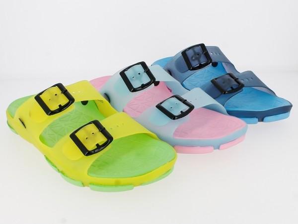 .Da.-Badepantolette, EVA, gelb-grün + h.blau-pink + navy-blau