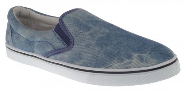 .He.-Leinenschuh, Slipper, PVC-Sohle, 2 kl. Gummizüge, Jeansstoff gewaschen, blau