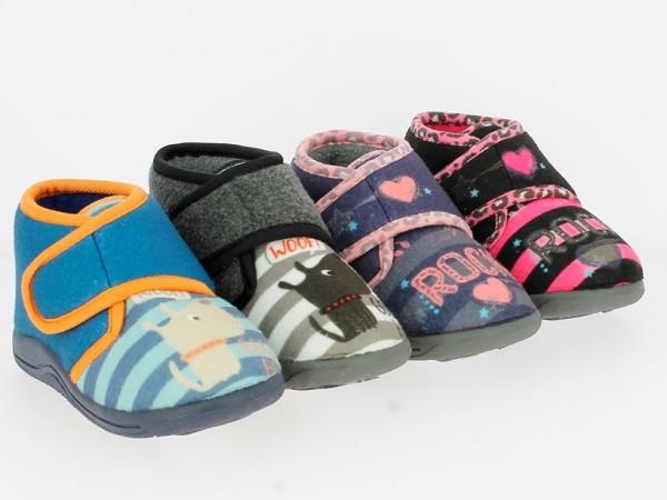 .Ki.-Hausschuh, TPR-Sohle, Klettverschluss, Vlies, schwarz-fuchsia+navy-pink+blau-orange+grau-schwar