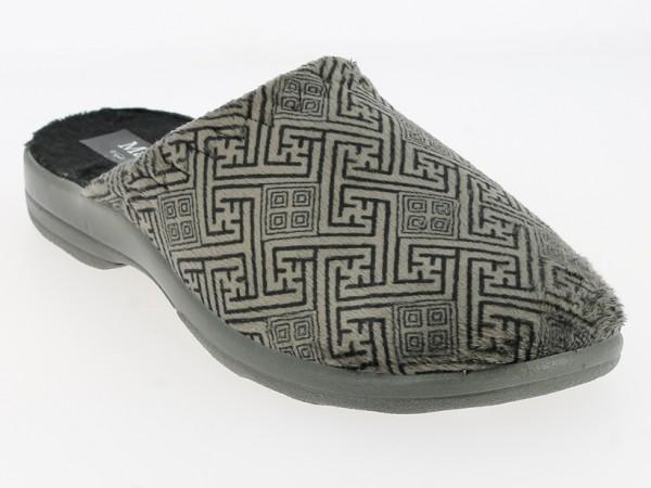 .He.-Pantoffel, TR, Plüschsamt mit Labyrintmuster, graue PU-Sohle, grau