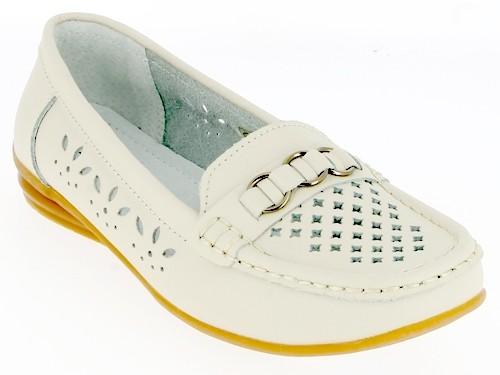 .Da.-Schuh, Slipper, Leder, Rubber-Sohle, Lederinnensohle, Lochmuster u. Zierringe, beige