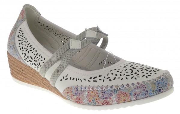 .Da.-Schuh, TPR-Keilsohle, Gummizug, Leder, Lederinnensohle, Lochmuster, weiß-bunt