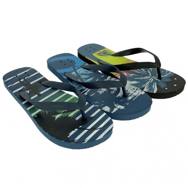 .He.-Beach-Zehengreifer, PE, mit Palmen, navy-h.grün+navy-grün+navy-blau