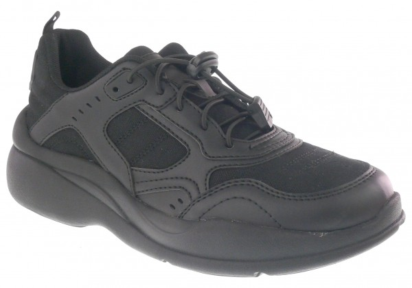 .Da.-Sportschuh, TPR-Sohle, Gummizug zum verstellen, PU+Textil, schwarz