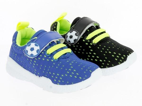 .Ki.-Freizeitschuh, PVC-Sohle, 1x Klett+Gummizug, Textil, schwarz-neon/gelb + blau-neon/gelb