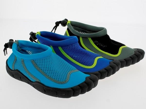 Ki.-Badeschuh, TPR-Sohle, hinten Band z. verstellen, Polyester, h.blau + navy + grau-schwarz