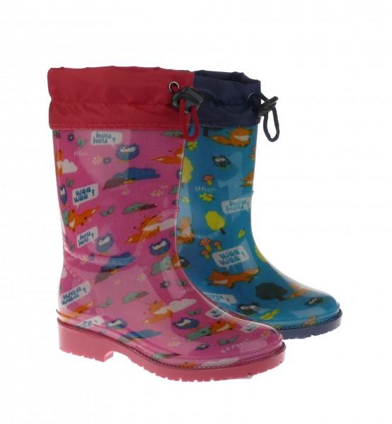 .Ki.-Regenstiefel, PVC-Sohle, Warmfutter, Band zum Verstellen, Tiermuster, PVC, rosa + türkis