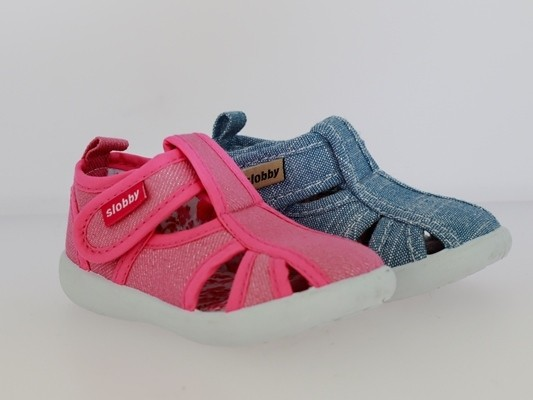 Ki.-Freizeitschuh, PVC-Sohle, Klettverschluss, Textil, Jeansoptik, pink(130-0034-T1) + hl.blau(130-