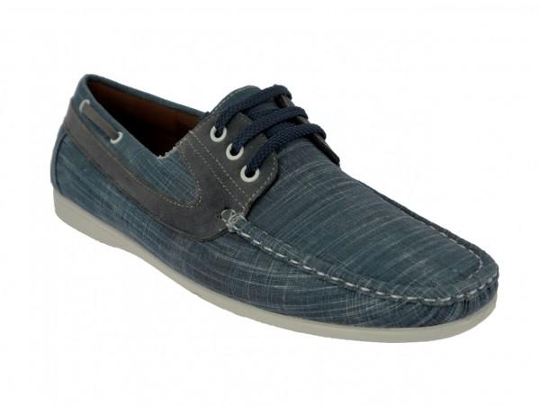 .He.-Leinenschuh, Schnürer, Jeansoptik, seitl. Zierband, weiße PVC-Sohle, blau