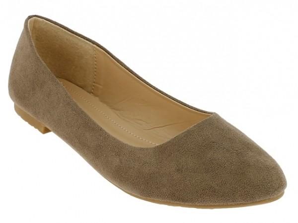 .Da.-Schuh, Slipper, Ballerina, Wildleder, TPR-Sohle, hl.braun