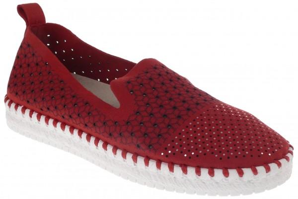 .Da.-Schuh, ultraflex. Gummisohle, Slipper, kl.Löcher, Lederinnensohle, Mikrofaser, gemustert, rot