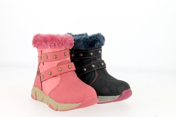 .Ki.-Stiefel, TPR-Sohle, seitl. Reißverschluss, Zierbänder mit Nieten, Warmfutter, PU, pink+navy