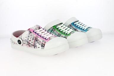.Ki.-EVA-Clogs, Sneakeroptik, m. kl. Löchern, Warmfutter, weiß-blau + weiß-grün + weiß-pink