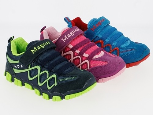 .Ki.-Sportschuh, TPR-Sohle, 1 x Klett, Gummizug, Wildleder+Textil, lila-fuchsia + blau-rot + navy-gr