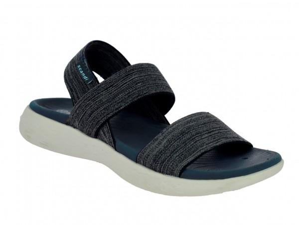 .Da.-Sandalette, Phylon-Sohle, 2 Bandagen, Fesselriemen, elastisches PU, navy