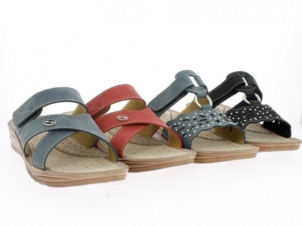 .Da.-Pantolette, Tr., PU-Sohle, Metalllogo, rot+blau +Strasssteine, blau+schwarz