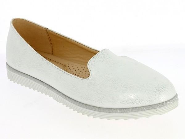 .Da.-Schuh, TPR-Sohle, Slipper, Silberumrandung, PU, weiß