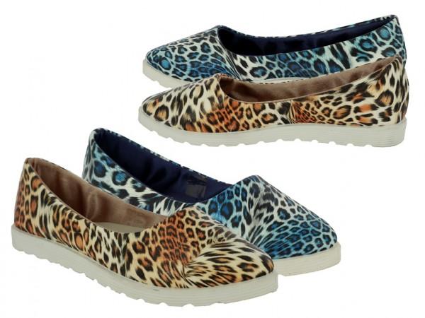.Da.-Schuh, Slipper, PU, Animalprint, PVC-Sohle, braun+ blau