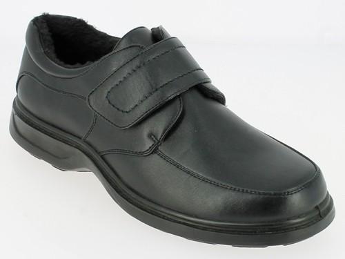 .He.-Schuh, 1 x Klett, Warmfutter, Nappa - PU, PU - Sohle, schwarz