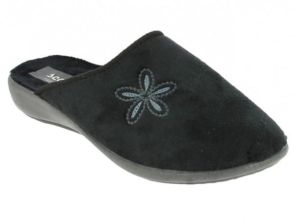 .Da.-Pantoffel, TR, Textil mit Blume, graue PU-Sohle, schwarz