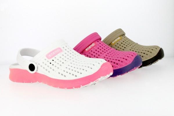 Da.-EVA Clog , flexibel, mit Löchern + Riemen, weiß-pink+ fuchsia-lila+ beige-braun