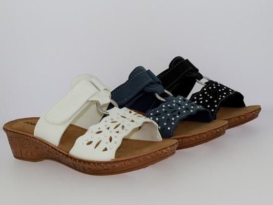 .Da.-Pantolette, Tr., PU-Sohle, Zierring, Strasssteine, seitl. Klettverschluss, PVC, schwarz + weiß