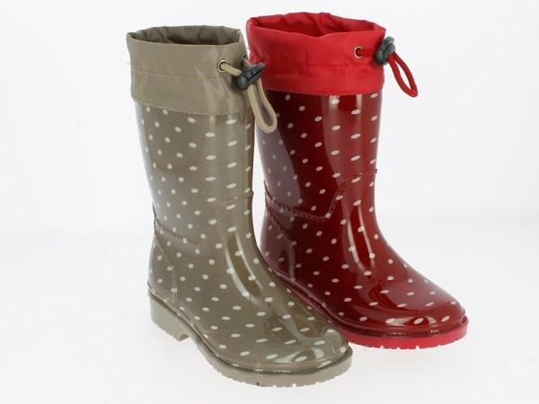 .Ki.-Regenstiefel, PVC-Sohle, Warmfutter, Band zum Verstellen, PVC, gepunktet, braun + rot