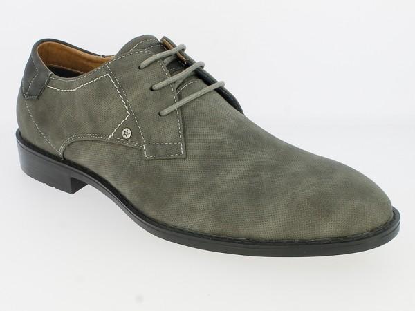 .He.-Schuh, Schnürer, TPR-Sohle, Ziernähte, perforiert, PU, grau