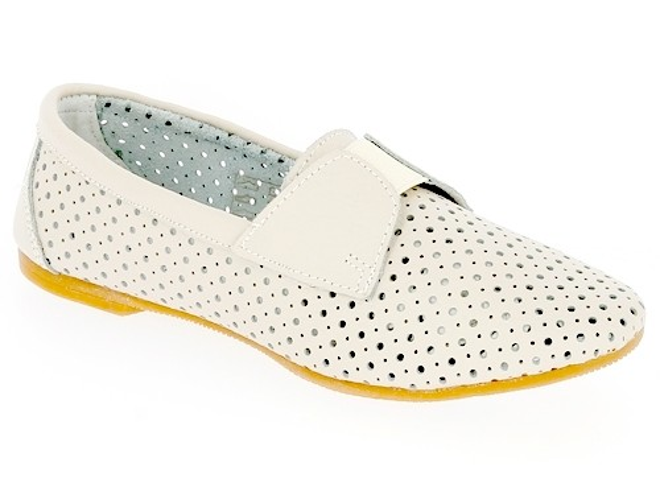 .Da.-Schuh, Gummizug, Leder, mit Löcher, Lederinnensohle, TPR-Sohle, beige