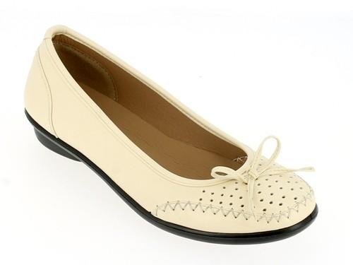 .Da.-Schuh, Slipper, PU, Zierschleife, mit Löchern, PU-Sohle, beige
