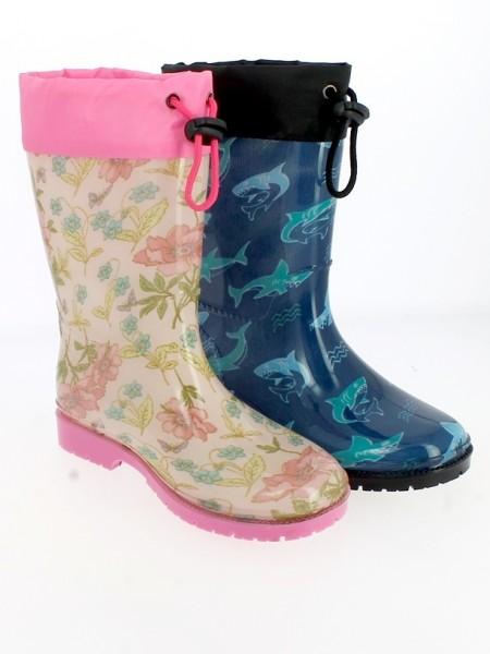Ki.-Regenstiefel, PVC-Sohle, Band z. feststellen, mit Blumen + Haien, PVC, pink+navy
