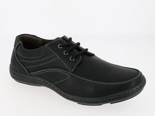 .He.- Schuh, Schnürer, PVC-Sohle, Ziernähte, schwarz