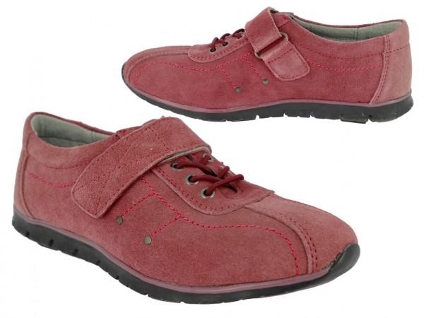 .Da.- Schuh, Schnürer, TPR-Sohle, 1x Klett, Leder, Lederinnenausstattung, bordeaux