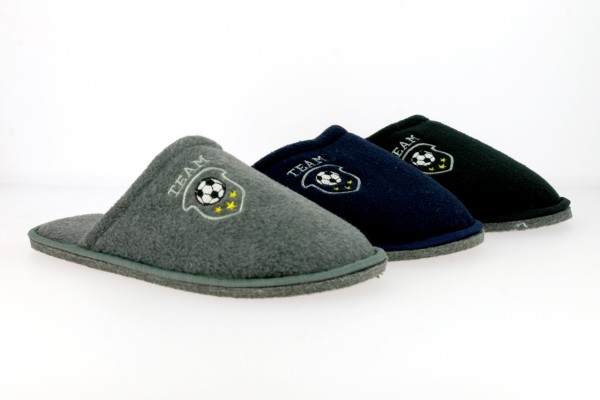 ".He.-Pantoffel, Filz-Sohle, Stickerei ""Team+Fussball"", Textil, grau + navy + schwarz"