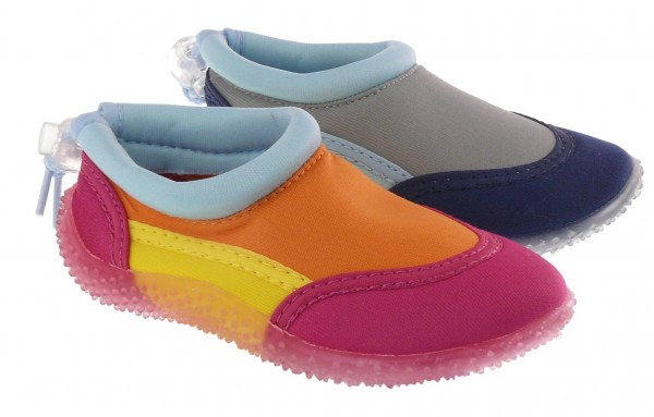 Ki.-Badeschuhe, Rubber-Sohle, Band zum verstellen, Synthetik, pink-orange+navy-grau