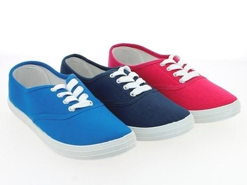 .Da.-Leinenschuh, Schnürer, PVC-Sohle, pink+blau+navy