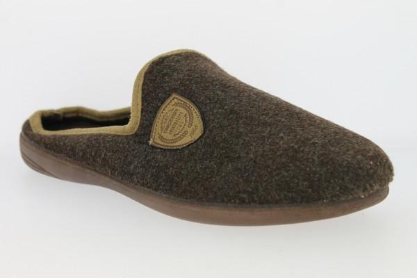 .He.-Pantoffel, TR, Textil, mit Emblem, PU-Sohle, braun