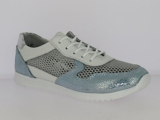 .Da.-Schuh, MD-Sohle, Schnürer, Lederinnensohle bedruckt, Leder+Netzstoff, weiß-h.blau