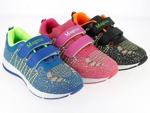 .Ki.-Sportschuh, PU+Mesh, 2 x Klett, TPR-Sohle, pink + blau-grün + schwarz-orange