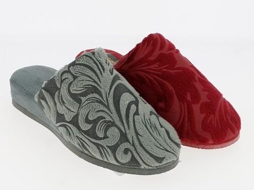 Da.-Pantoffel, Samtdruck, EVA-Sohle, grau+bordeaux