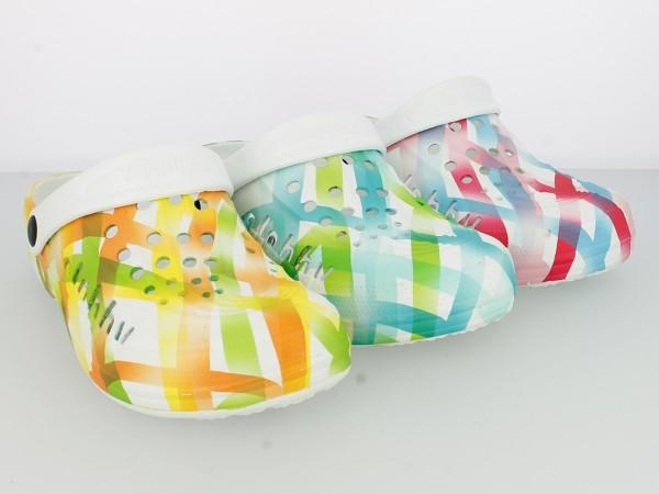 Da.-EVA Clogs, SLOBBY, mit Riemen, weiß-orange + weiß-grün + weiß-fuchsia