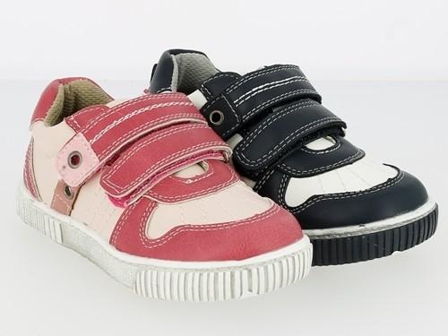.Ki.-Schuh, TPR-Sohle, 2 × Klett, Ziernähte, PU, navy-white + fuchsia-pink