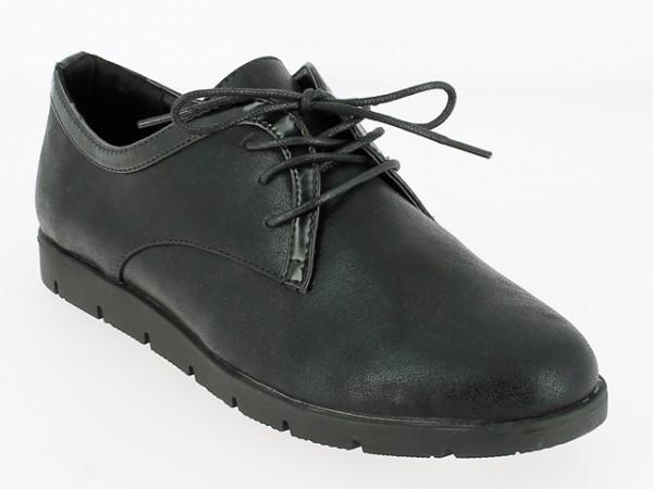 .Da.-Schuh, TPR-Sohle, Schnürer, PU, schwarz