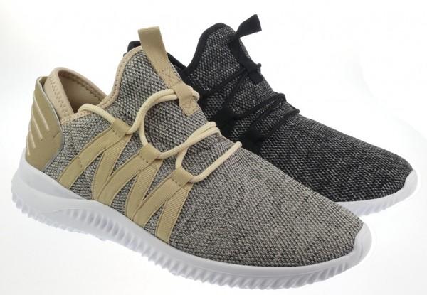 He.-Sportschuh, EVA-Sohle, Schnürer, Textil, schwarz + beige-grau